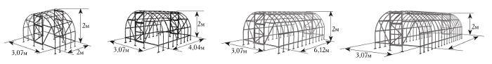 Размер и форма строения зависят от того, какие виды растений планируются выращивать в помещении