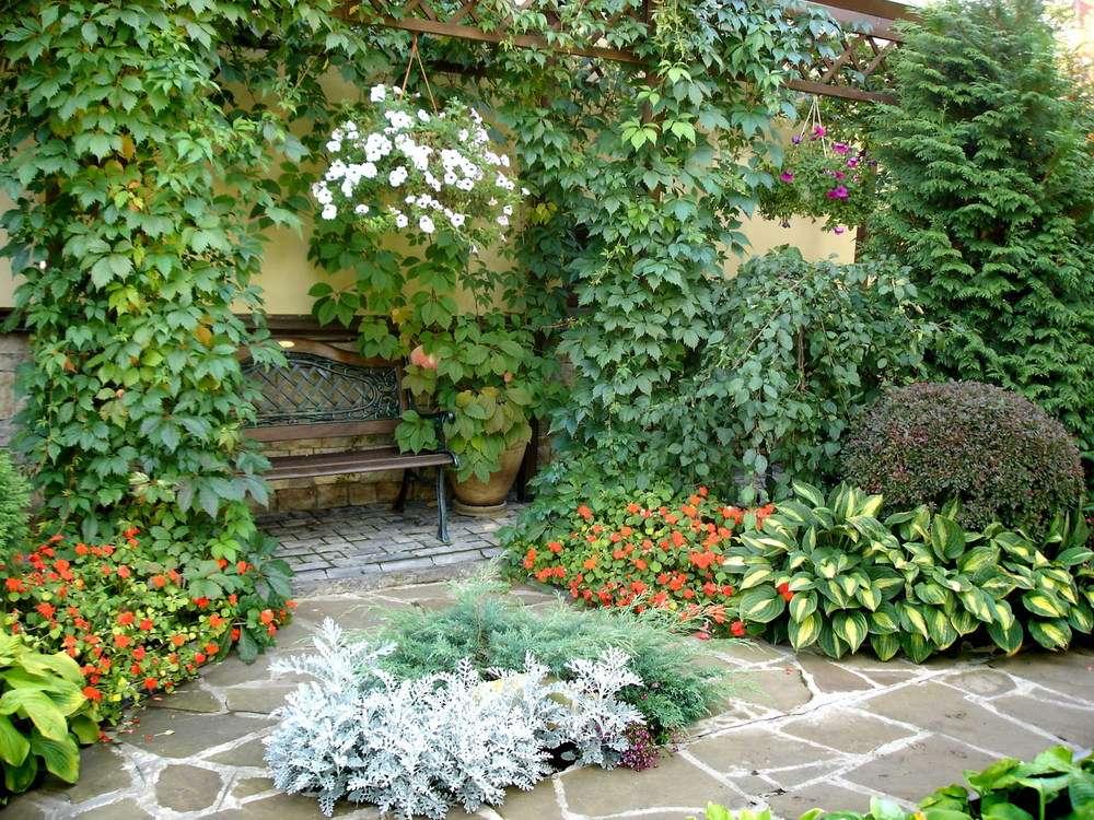Средиземноморский — простота. Центром композиции служит внутренний дворик возле кирпичной стены, вымощенный камнем. Обязательные элементы: газон, пергола, фонтаны, плотные занавески, плетеная мебель.