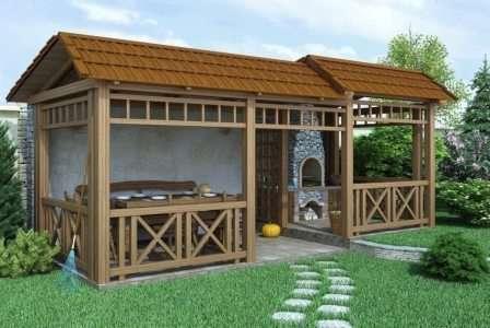 Так, беседка с зоной для шезлонгов или с мангалом окажется просторней, чем простой постройке исключительно для сидения.