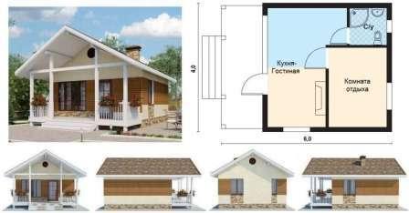 Фундамент под основной частью дома нужно делать ленточный, а под террасой — столбчатый. Брус должен быть обработан антисептиками и морилкой.